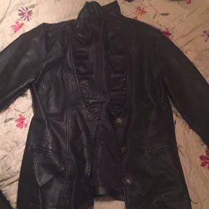 Jackets & Blazers - Black faux leather jacket